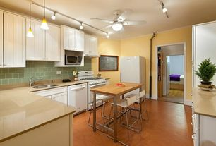 Modern Kitchen with Track lighting, Wood counters, Breakfast nook, Inset cabinets, L-shaped, Undermount sink, Ceiling fan