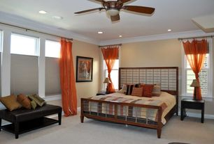 Modern Guest Bedroom with Concrete floors, Ceiling fan