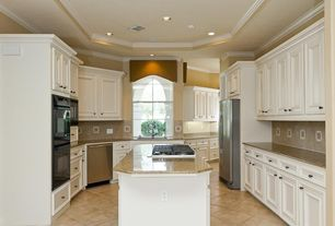 Traditional Kitchen with Undermount sink, Built In Refrigerator, dishwasher, Simple granite counters, Large Ceramic Tile