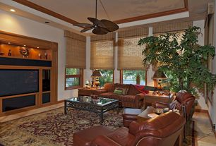 Craftsman Living Room with Casement, Carpet, Standard height, picture window, Ceiling fan, can lights, Concrete floors