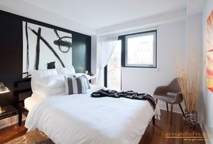 Contemporary Guest Bedroom with French doors, Hardwood floors, Laminate floors, Balcony