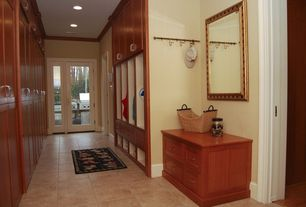 """Craftsman Mud Room with Built-in bookshelf, Second Look Mirrors 40"""" H x 28"""" W Ornate Frame Wall Mirror, Crown molding"""