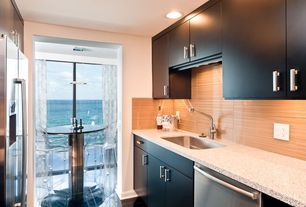 Contemporary Kitchen with Galley, Breakfast nook, Undermount sink, Simple granite counters, Pendant light, European Cabinets