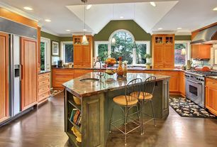 Eclectic Kitchen with Arched window, Hardwood floors, Glass panel door, Complex Granite, Glass panel, Crown molding, Flush