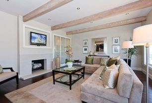 Modern Living Room with French doors, Cement fireplace, Hardwood floors, Exposed beam