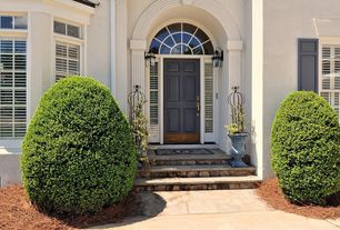 Traditional Front Door with Transom window, six panel door, Casement, exterior stone floors
