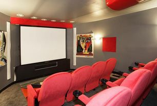 Modern Home Theater with Carpet, simple marble floors