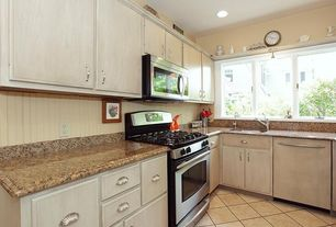 "Cottage Kitchen with GE JGBP28METBS 30"" Free-Standing Gas Range, Inset cabinets, Concrete tile , Undermount sink, L-shaped"