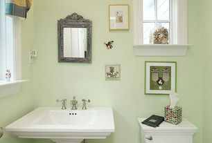 """Traditional Powder Room with American standard - white town square 24"""" pedestal fireclay bathroom sink, Powder room, Casement"""
