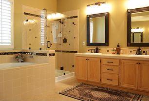 Craftsman Full Bathroom with Large Ceramic Tile, three quarter bath, drop in bathtub, Casement, Bathtub, Raised panel, Shower