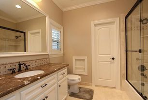 Traditional Full Bathroom with linen and towel storage cabinet, wall-mounted above mirror bathroom light, flat door, Shower
