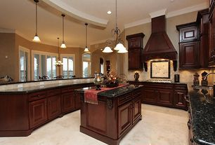 Traditional Kitchen with Crown molding, Casement, Undermount sink, Stone Tile, can lights, Framed Partial Panel, Custom hood