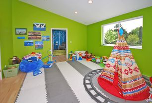 Contemporary Playroom with Hardwood floors