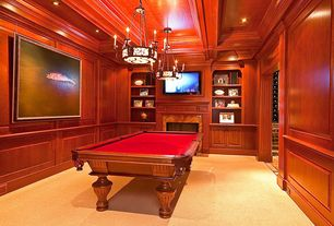 Traditional Game Room with High ceiling, Carpet, Crown molding, Built-in bookshelf, Box ceiling, Chair rail, Pendant light