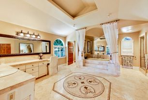Traditional Master Bathroom with Raised panel, European Cabinets, Double sink, ceramic tile floors, Arched window, Frameless