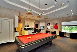 Eclectic Game Room with Pendant light, flat door, High ceiling, Carpet