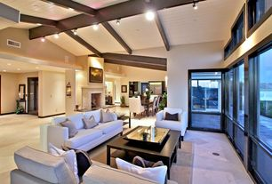 Contemporary Living Room with High ceiling, Wall sconce, Exposed beam, Concrete tile