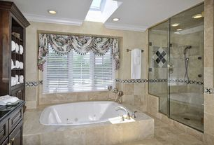 Traditional Master Bathroom with Handheld showerhead, Skylight, Simple granite counters, Raised panel, frameless showerdoor