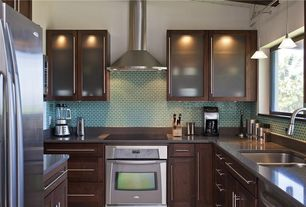 Contemporary Kitchen with U-shaped, Glass Tile, Undermount sink, Flush, full backsplash, Paint 1, Pendant light, Casement