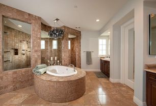 Contemporary Master Bathroom with Master bathroom, Inset cabinets, Raised panel, Glass panel door, terracotta tile floors