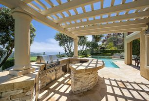 Mediterranean Patio with Pergola, Trellis, exterior stone floors, Outdoor kitchen