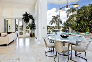 Contemporary Great Room with Pendant light, French doors, High ceiling