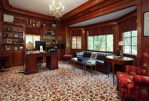 Traditional Home Office with Carpet, Chandelier, Crown molding, Standard height, can lights, specialty window