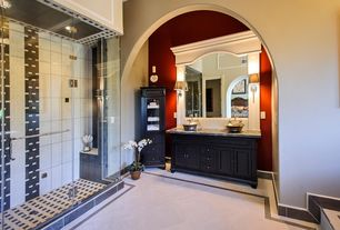 Traditional 3/4 Bathroom with large ceramic tile floors, Double sink, High ceiling, Complex marble counters, Shower