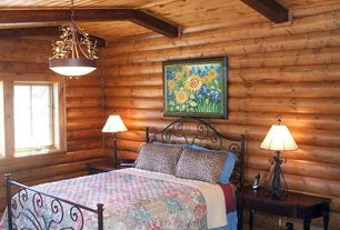 Eclectic Guest Bedroom with Exposed beam, Hardwood floors, flush light