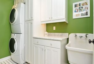 Cottage Laundry Room with Carpet, Farmhouse sink, Amerock white and chrome cabinet knob, High ceiling, Paint 1, laundry sink