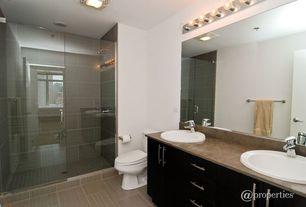 Contemporary Full Bathroom with Shower, Casement, can lights, frameless showerdoor, drop-in sink, three quarter bath