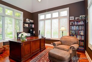 Traditional Home Office with Carpet, Built-in bookshelf, Hardwood floors, Crown molding