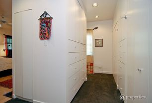Contemporary Closet with can lights, Standard height, Hardwood floors