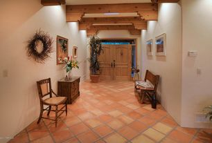 Eclectic Entryway with Exposed beam, Transom window, Large potted palm, High ceiling, Wood indoor outdoor bench, Paint