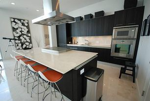 Contemporary Kitchen with Onda counter stool, One-wall, Daltile sabbia (2) p024, Flush, Simple Marble, Kitchen island