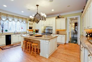 Traditional Kitchen with U-shaped, Simple granite counters, Undermount sink, Bamboo floors, flush light, Crown molding, Onyx