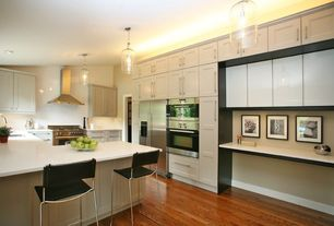 Contemporary Kitchen with Flat panel cabinets, L-shaped, Breakfast bar, Flush, Undermount sink, Hardwood floors