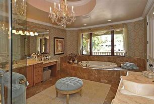 Traditional Master Bathroom with Crown molding, Flat panel cabinets, Inset cabinets, full backsplash, interior wallpaper