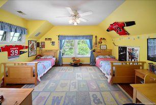 Eclectic Kids Bedroom with Standard height, no bedroom feature, double-hung window, flush light, Hardwood floors