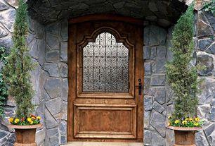 Rustic Front Door with Raised beds, exterior stone floors, Glass panel door
