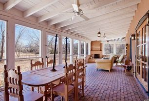 Country Porch with exterior brick floors, Screened porch, French doors, outdoor pizza oven