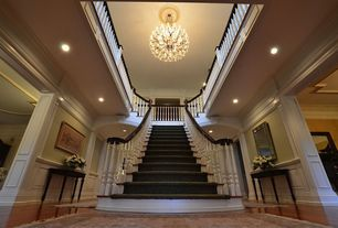 Traditional Staircase with Cathedral ceiling, Loft, Hardwood floors, Wainscotting, Chandelier, Chair rail