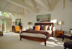 Craftsman Master Bedroom with Cathedral ceiling, Carpet, French doors, picture window, Exposed beam