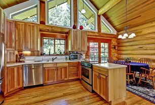 Rustic Kitchen with Builder's Pride Natural Hickory Hardwood Floor, Chandelier, French doors, Flat panel cabinets, U-shaped