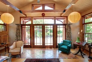 Eclectic Great Room with Carpet, French doors, High ceiling, stone tile floors, picture window, Exposed beam, Laminate floors
