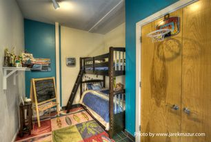 Eclectic Kids Bedroom with Carpet, Built-in bookshelf