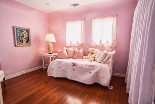 Country Kids Bedroom with Casement, Hardwood floors, no bedroom feature, can lights, Standard height