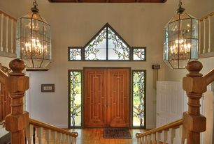 Eclectic Entryway with Loft, Stained glass window, Standard height, Chandelier, Transom window, Laminate floors