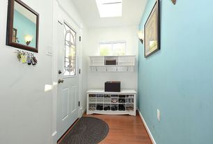 Modern Entryway with Skylight, Design by AKRO Guzzler Sunburst Doormat, Glass panel door, Hardwood floors, Wall sconce