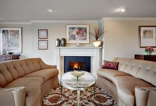 Modern Living Room with metal fireplace, Crown molding, Cement fireplace, Carpet